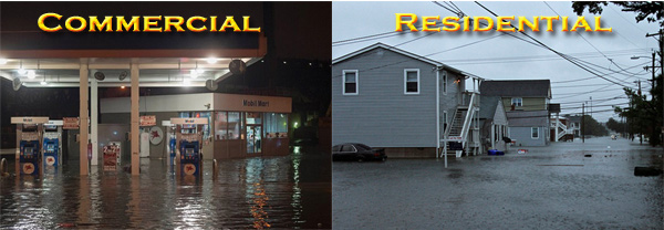 commercial and residential flooding in East Islip New York